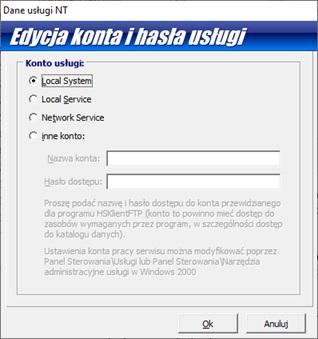 Okno uruchamiania usługi